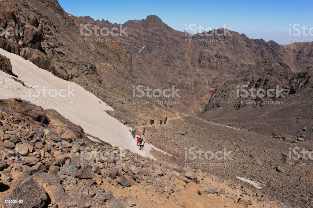 Treking on the highest summit of Morocco. Trail in Altas Mountains stock photo
