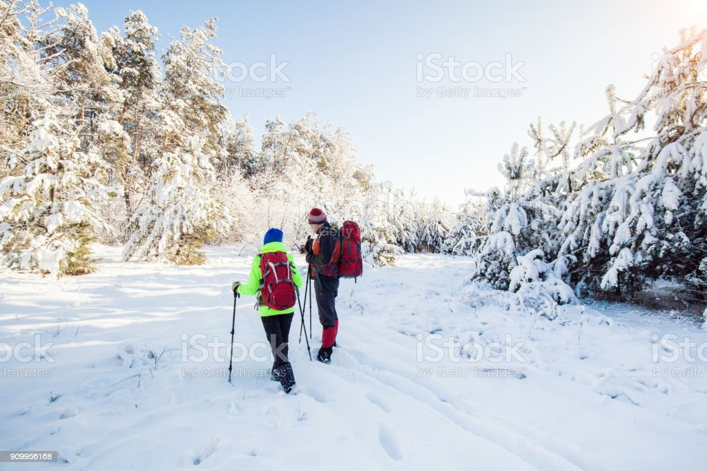 Trekkers along the path to  refuge in the Natural Park stock photo