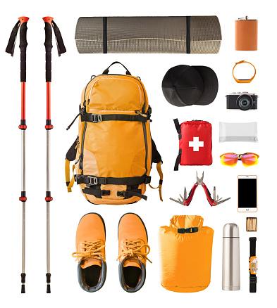 istock Trekking, camping and hiking equipment isolated 1138692427