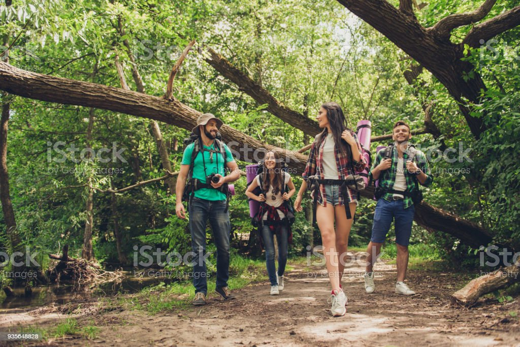 Trekking, camping and wild life concept. Two couples of friends are walking in the sunny spring woods, talking and laughing, all are excited and anxious, jungle trails stock photo