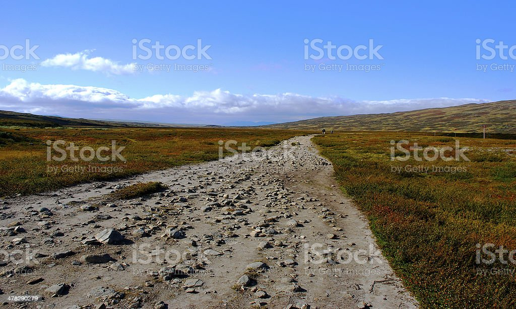 Trekking during fall royalty-free stock photo