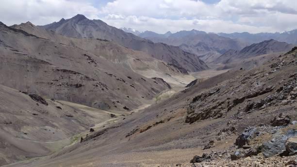 Trekking from Pshart valley to Madiyan in Tajikistan Pamir highway stock photo