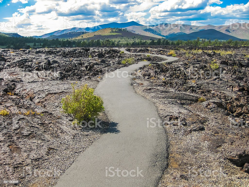 Trekking in Craters of the Moon stock photo