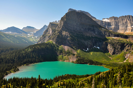 Trekking In Grinnel Lake Trail Glacier National Park Montana Stock Photo - Download Image Now