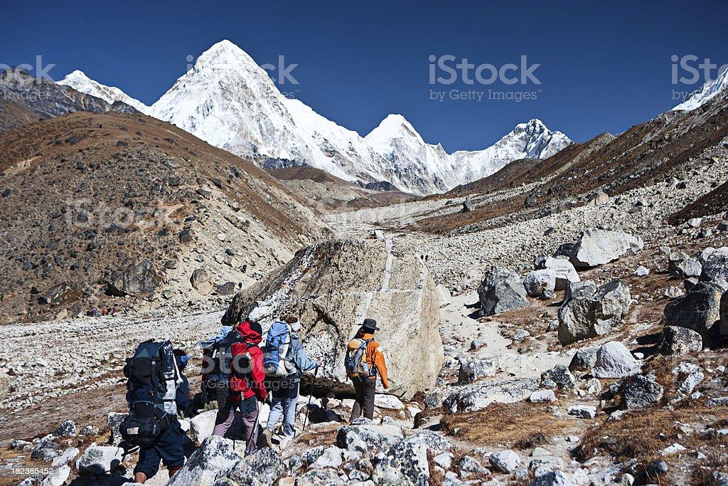 Trekking in Himalayas royalty-free stock photo
