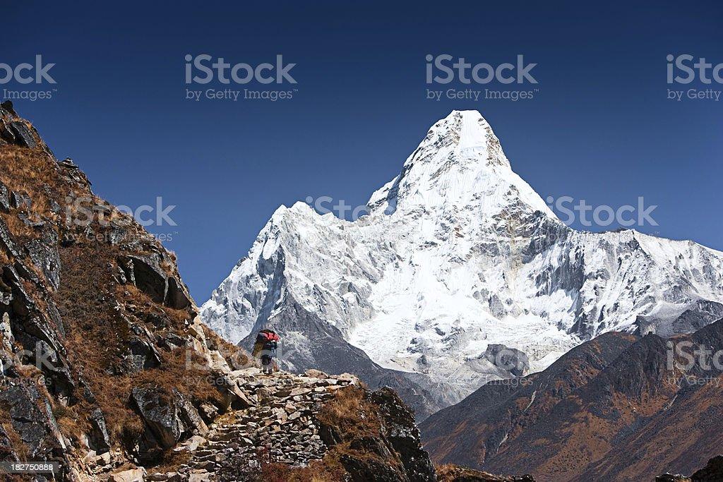 Trekking in Himalayas stock photo