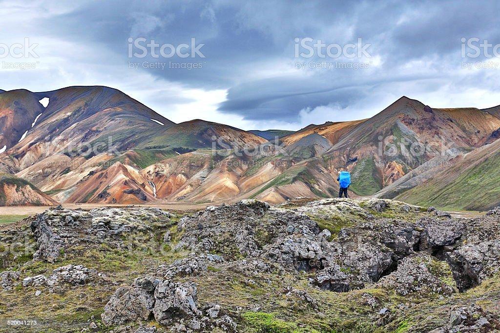 Trekking in Iceland stock photo