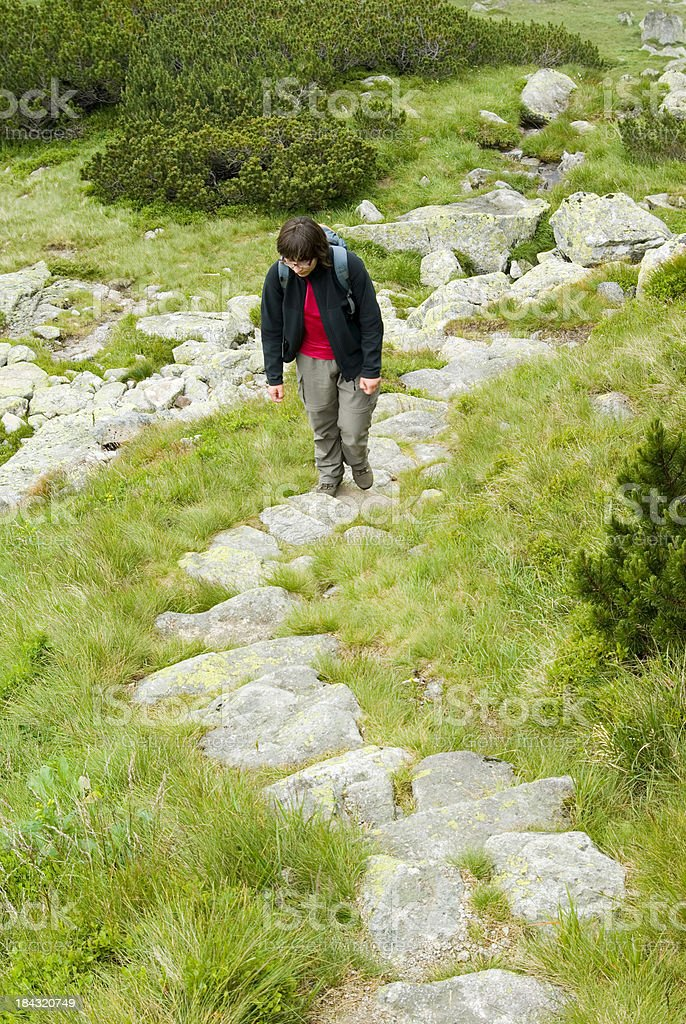Trekking in mountains royalty-free stock photo