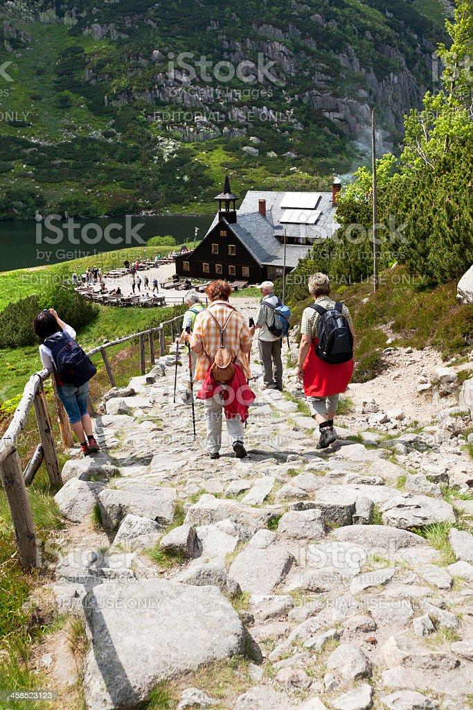 Trekking in Mountains royalty-free stock photo