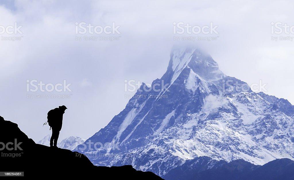 trekking in nepal himalaya royalty-free stock photo