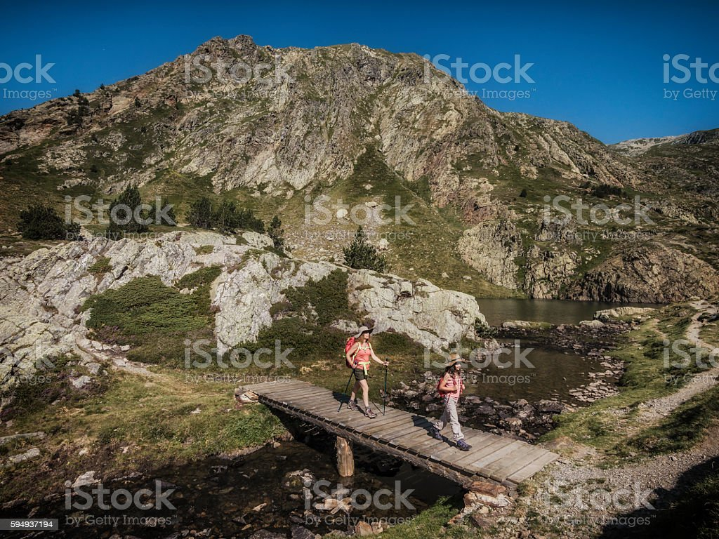 Trekking in the mountains stock photo