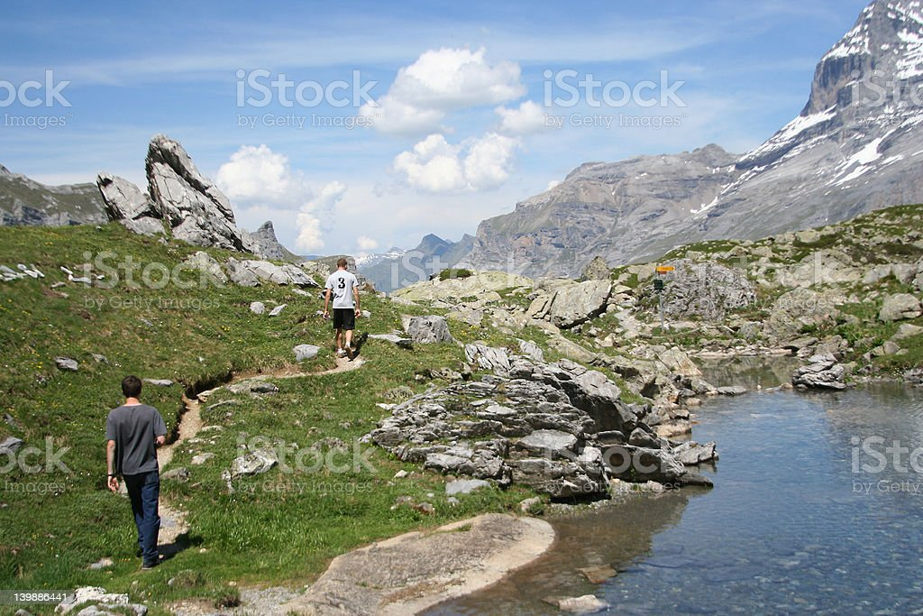 Trekking in the Swiss Alps royalty-free stock photo