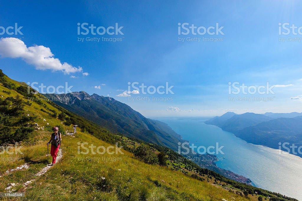 Trekking on Monte Baldo royalty-free stock photo