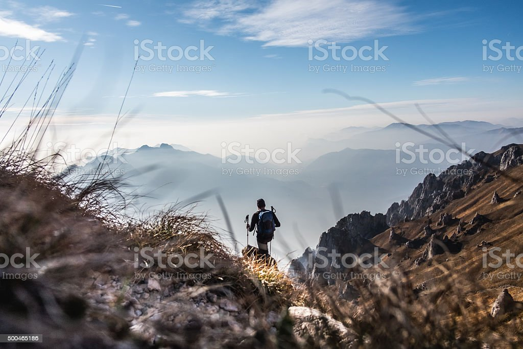 Trekking on mountain trails stock photo