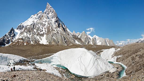 Trekking on the Baltoro Glacier, Pakistan stock photo