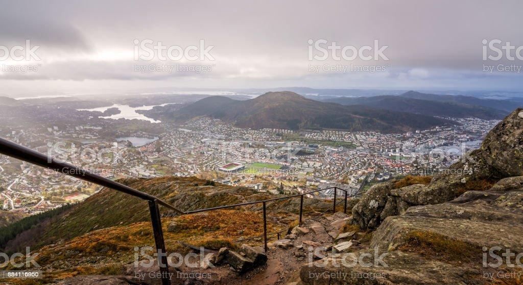 Trekking path leading to the top of Mount Ulriken in Bergen stock photo