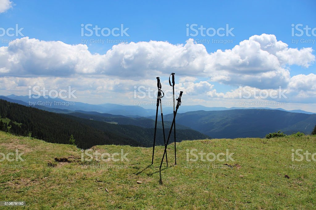 Trekking poles stock photo