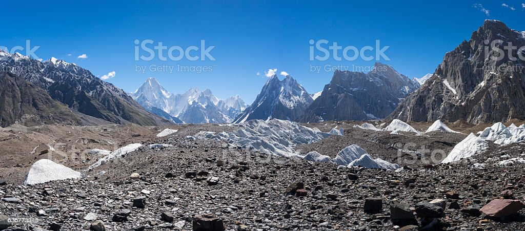 K2 trekking route from Goro II to Concordia camp stock photo