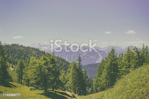 Trekking route in National park Dachstein, Austria. Away alpine mountains and green forest. Blue sky in summer day