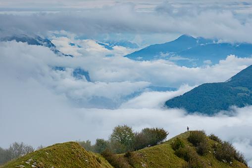 Trekking scene in a cloudy day