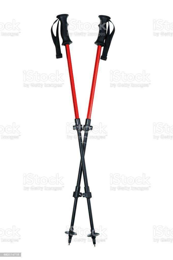 Trekking sticks isolated on white background stock photo