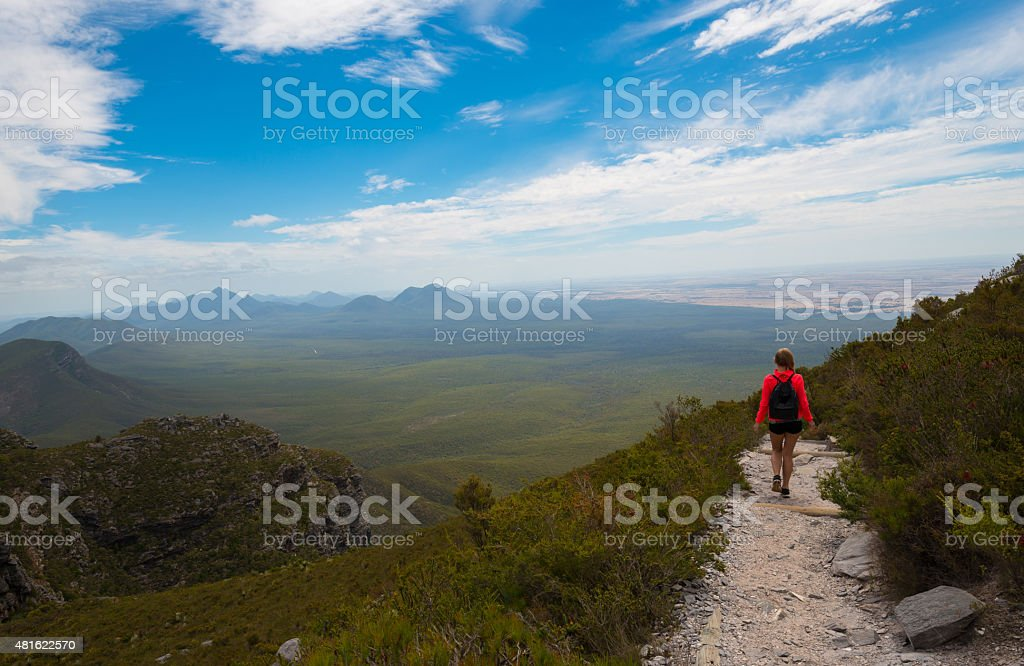 Trekking Stirling Range National Park in Western Australia stock photo