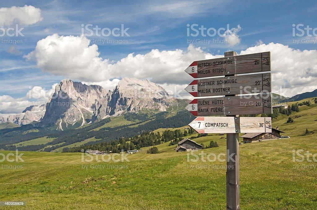 trekking su Alpe di Siusi,Alto Adige stock photo