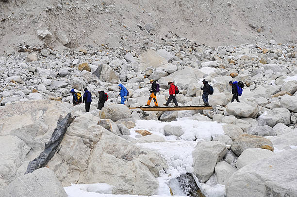 Trekking to Everest Basecamp stock photo