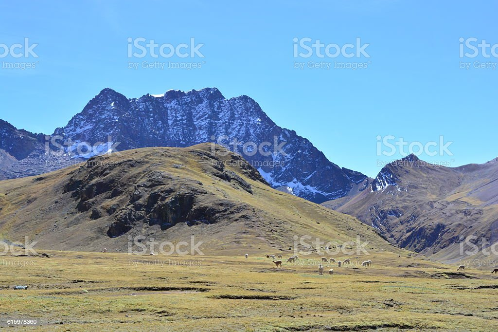 Trekking to the Rainbow Mountain in Peru stock photo