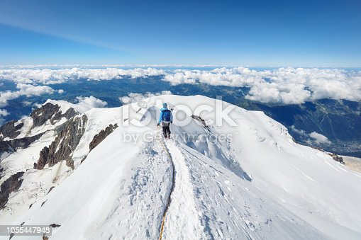 istock Trekking to the top of Mont Blanc mountain in French Alps 1055447948