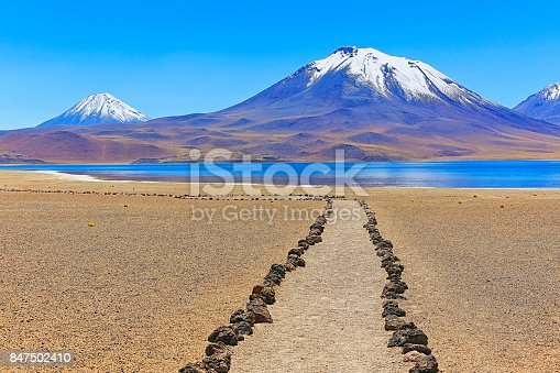 trekking trail path to Lagunas Miñiques and Miscanti - Lakes and snowcapped Volcanoes mountains - Turquoise lakes and Idyllic Atacama Desert, Volcanic landscape panorama – San Pedro de Atacama, Chile, Bolívia and Argentina border