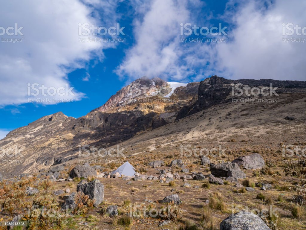 Trekking trip to summit of Nevado del Tolima Los Nevados National Park, basecamp, Colombia stock photo