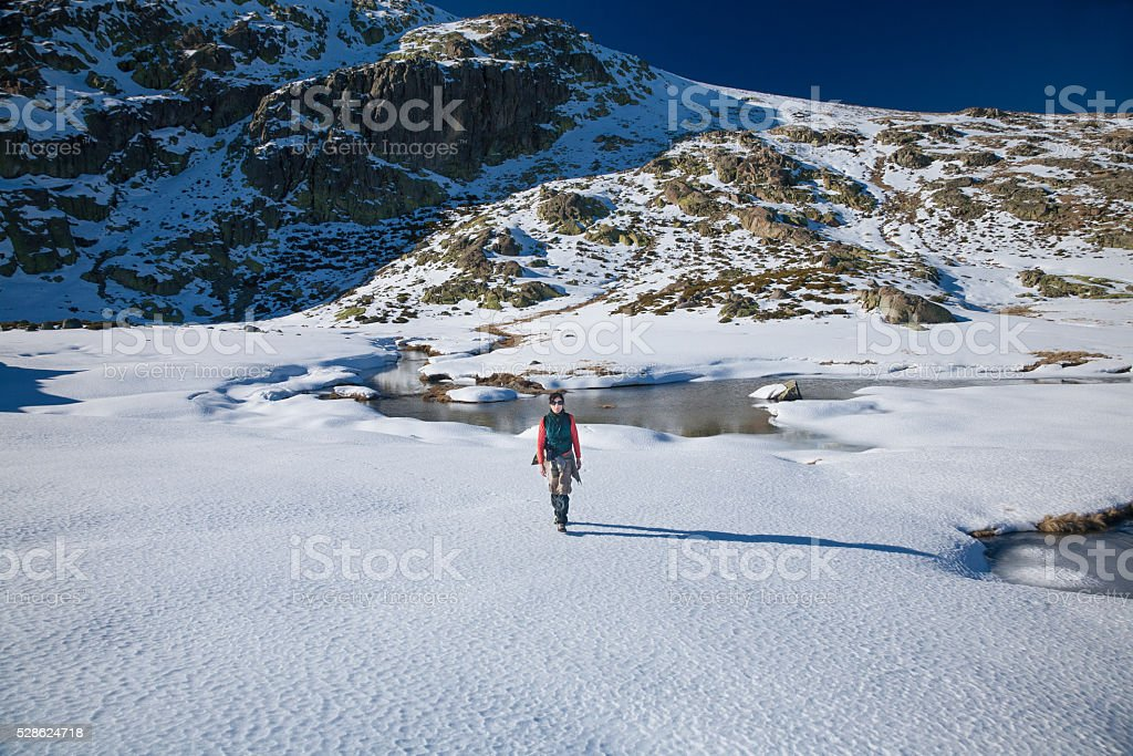 trekking woman walking in snow stock photo