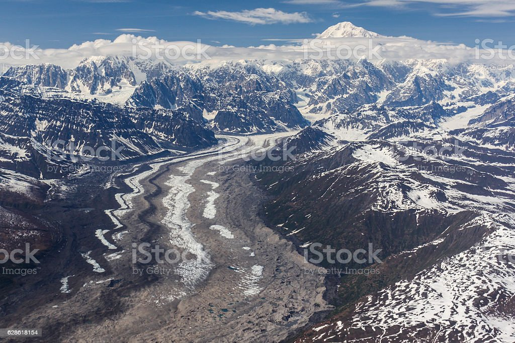 Treleika Glacier and Denali stock photo