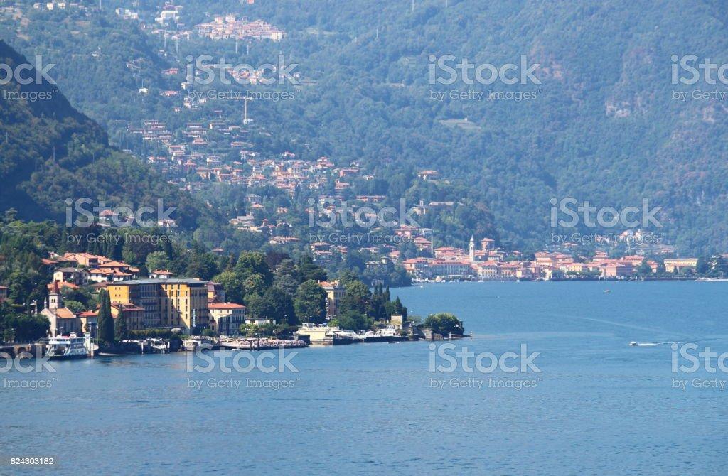 Tremezzo town at lake Como stock photo