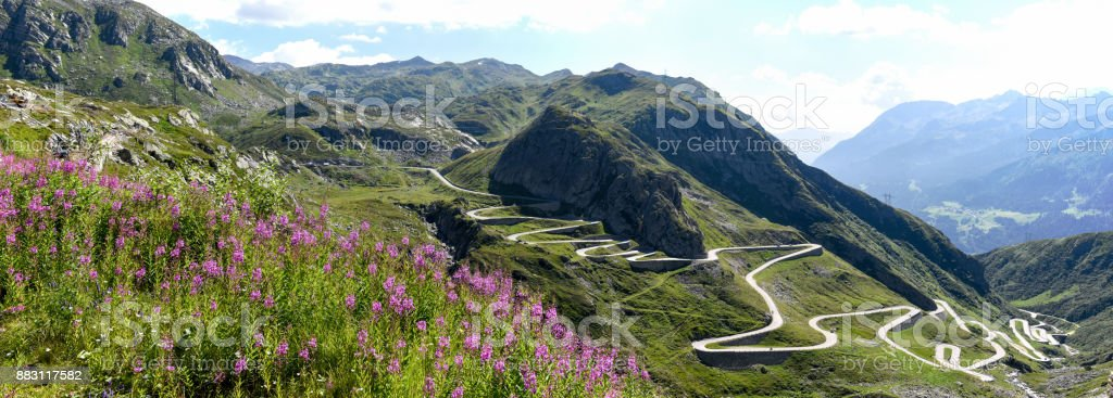 Tremola old road which leads to St. Gotthard pass stock photo