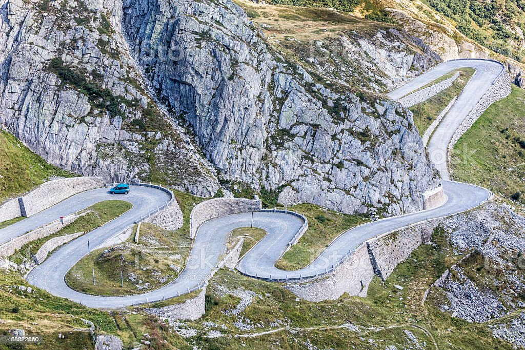 Tremola, Serpentines to the pass Gotthard in Switzerland stock photo
