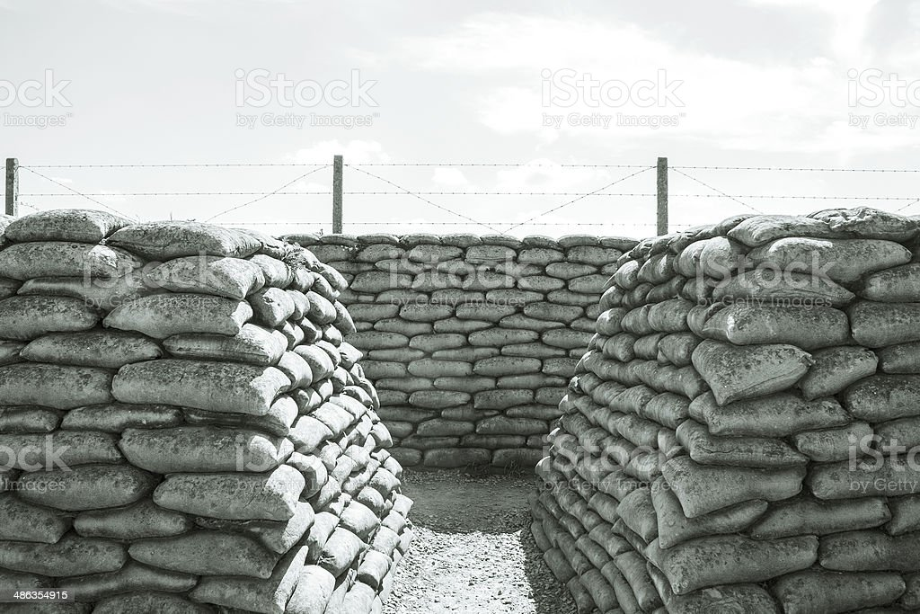 Trench of death sandbags world war one stock photo