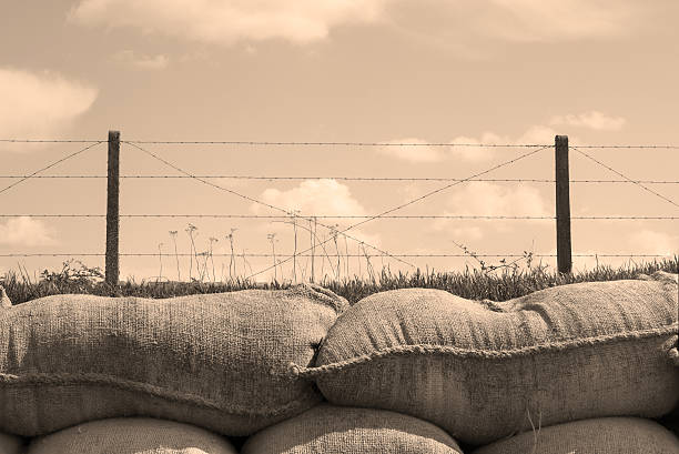 trenches of death world war one sandbags in belgium - greppel stockfoto's en -beelden