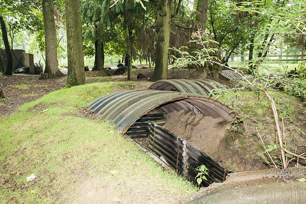 trenches of the First World War in belgium stock photo