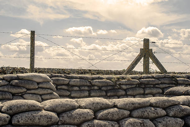 trenches of world war one sandbags in belgium - greppel stockfoto's en -beelden