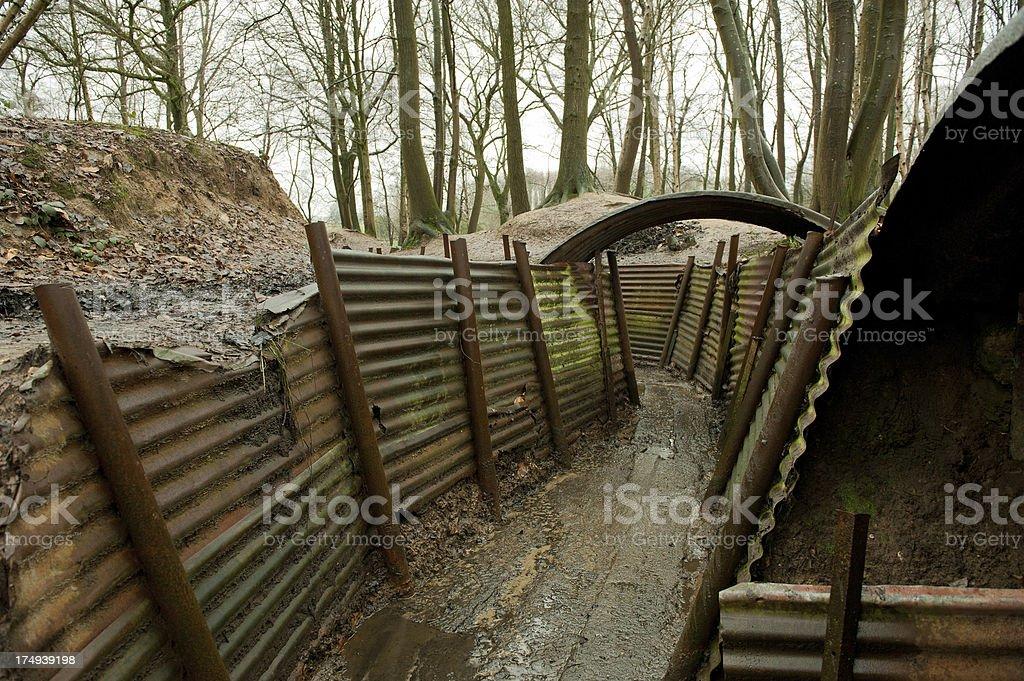 WW1 Trenches, Sanctuary Wood, Ypres, Belgium stock photo