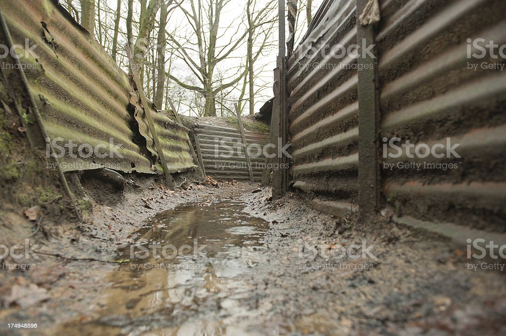 WW1 Trenches, Sanctuary Wood, Ypres, Belgium royalty-free stock photo