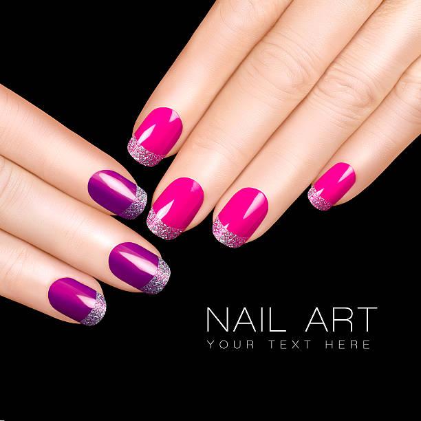 Trend Nail Art. Luxury Nail Polish. Glitter Nail Stickers stock photo