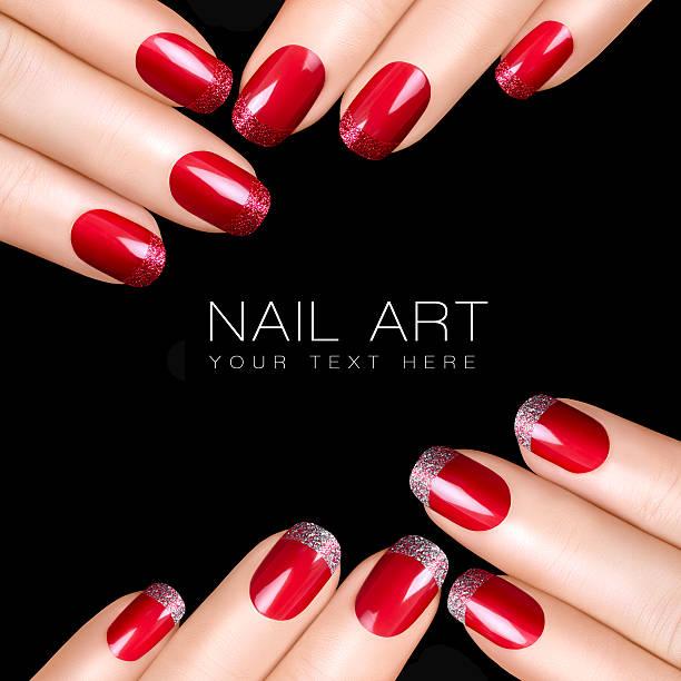 Trend Nail Art. Luxury Nail Polish. Nail Stickers stock photo
