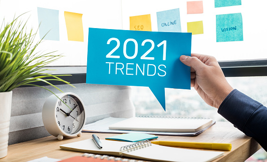 Trends of 2021 concepts with text and business person.creativity to success