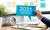 istock Trends of 2021 concepts with text and business person 1270751941