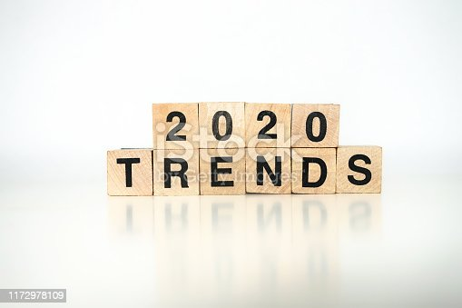 2020 trends written with wood cubes, white background