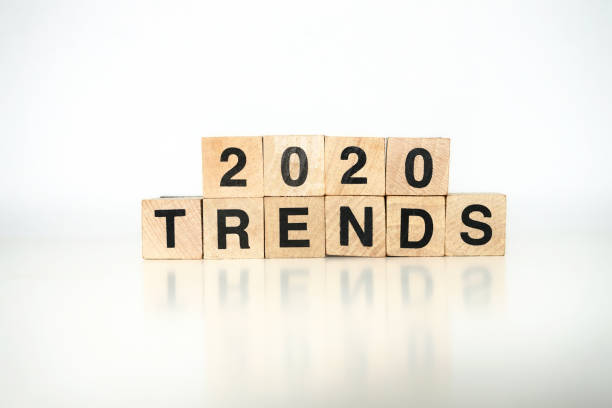 2020 trends 2020 trends written with wood cubes, white background stylish stock pictures, royalty-free photos & images