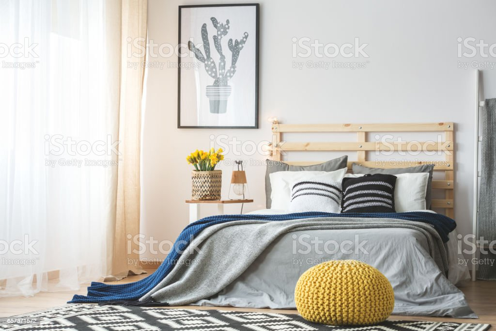 Trendy bedroom interior stock photo